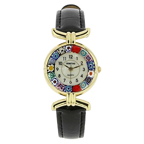 GlassOfVenice Murano Glass Millefiori Watch with Leather Band - Black ()