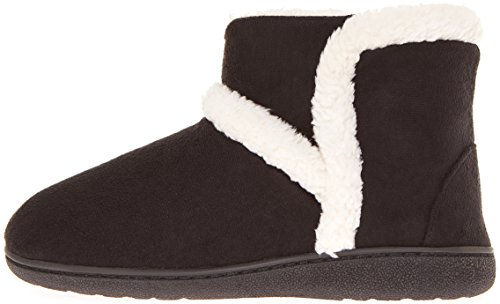 Floopi Womens Indoor Outdoor Sherpa Fur Lined Bootie Slipper W/Memory Foam Black-201 eb39lA