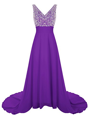 Wedtrend Women's Long Chiffon Prom Dress with Train Bridesmaid Dress with Beads WT12007 Purple - Fresno Shops In Dress