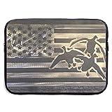 SWAKOJIJI Duck Hunting USA Flag 13/15 Inch Laptop Sleeve Bag for MacBook Air 11 13 15 Pro 13.3 15.4 Portable Zipper Laptop Bag Tablet Bag,Diving Fabric,Waterproof Black