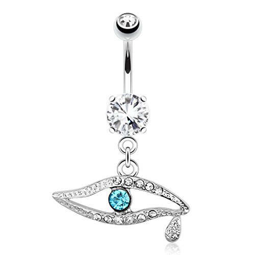 Blue Glass-Gem Center Eye with Teardrop Belly Ring - 14G (1.6mm) - Sold Individually