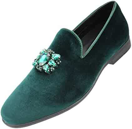 65e6d2af4d9 Amali Men s Faux Velvet Slip on Loafer with Jeweled Bit and Matching Piping Dress  Shoe