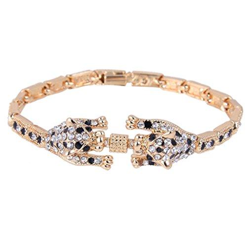 Panther Head Bracelet (EVER FAITH Austrian Crystal Gorgeous Dual Leopard Head Bangle Bracelet Clear Gold-Tone)