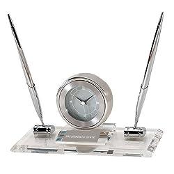 Sacramento State Executive Glass Clock and Pen Stand 'Sacramento State Engraved'