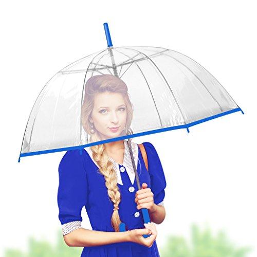 Dome Bubble Umbrella - Bubble Transparent Umbrella Dome - Romantic Clear &color Umbrella for Rain by outdew (blue thin strip)