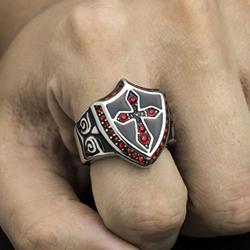Naomi Men's Middle Ages Retro Style Domineering Knights Templar Jewelry,Shield Shape Highly Polished Titanium Steel Cross Rhinestone Rings Multi-Color 13