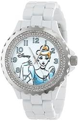 Disney Women's W001002 Cinderella White Enamel Watch
