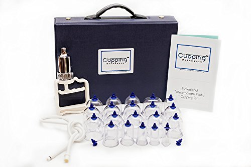 Cupping Warehouse 20 Cup Polycarbonate Professional Cupping Therapy Set with Pump Gun and Extension Tube and Silicone Top - Glasses Warehouse