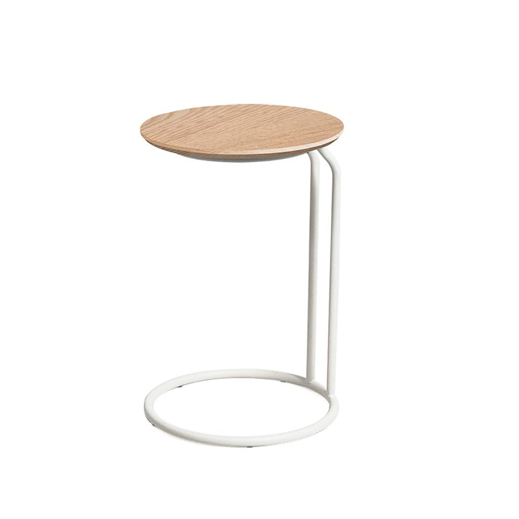 Sofa Side End Table,C Shaped Space Saving Telephone Table for Living Room, Side Table with Wood Finish and Steel Construction by LYR