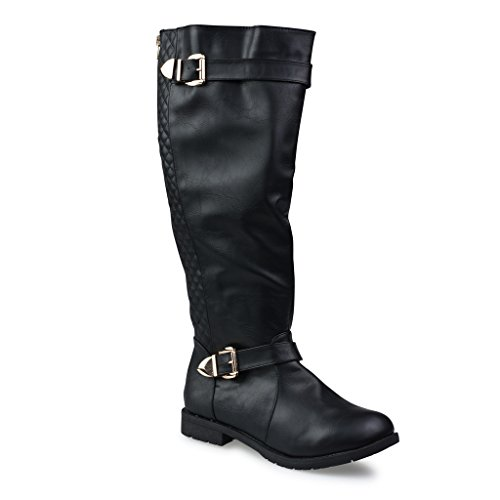 Twisted Women's Amira Wide Width/Wide Calf Faux Leather Knee-High Quilted Boot with Gold Hardware - stylishcombatboots.com