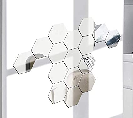 Fdit Argent Bricolage Acrylique Hexagonal Autocollant Mural Miroir Miroir Amovible Autocollants Auto-adh/ésifs 46x40x23mm pour la d/écoration Murale