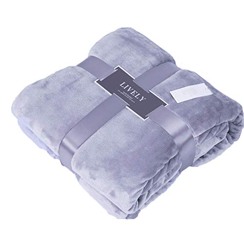 CLOTHKNOW Solid Purple Flannel Blanket California King Women, Lightweight Blankets Extra Large - 90