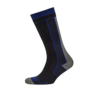SealSkinz Funktionssocken Thin Mid Length, Calcetines para hombre, Multicolor (Negro / Gris)
