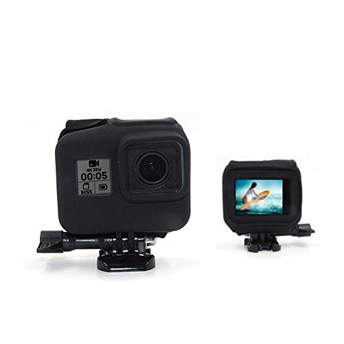 TELESIN Silicone Case for GoPro Hero 5 Hero 6 Black in Camera Frame Case, Soft Rubber Cover Protector Shell Skin Wrap for Go Pro Hero 5 in Frame Case (Black)