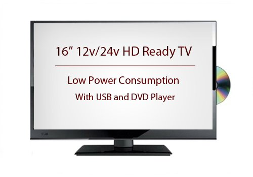 16″ 12v/24v LED HD Ready TV with Built in Freeview & DVD Player for Caravans, Trucks and Motorhomes