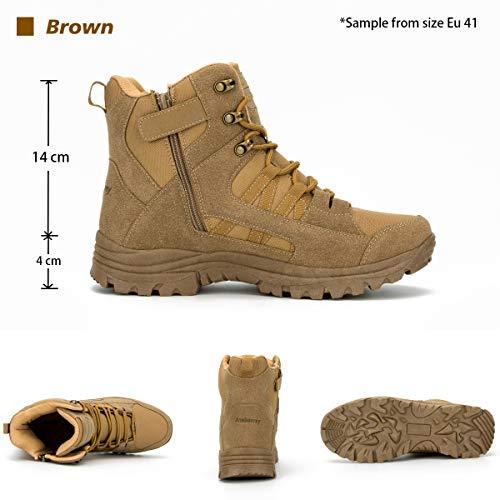 Ansbowey Bottes Hommes Chaussures de Randonnée Femmes Tactiques Militaire Combat Boots Exterieur antidérapantes Bottines… 2