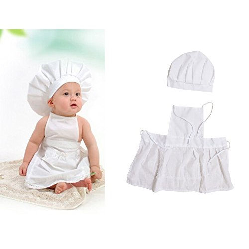 Cacys-Store - Cute Baby Cook Costume Photo Photography Prop Newborn Infant Hat Apron Chef Clothes DIY Funning Booth Props for Kids White -