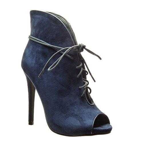 Angkorly - Scarpe da Moda Stivaletti - Scarponcini stiletto sexy donna Tacco Stiletto tacco alto 12.5 CM - Blu