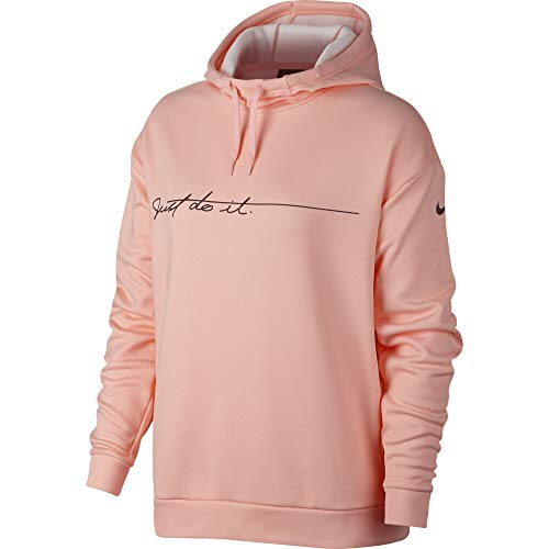 NIKE Women's Therma Graphic Fleece Training Hoodie Storm Pink/Burgundy Crush Size - Hoodies Nike Women