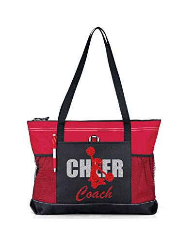Custom Cheer Coach with Glitter or Solid Metallic Cheerleader and Coach Name on a Sports Tote. (Red Glitter on a Red Bag (No Name)]()