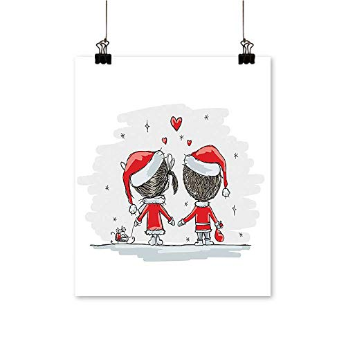 Artwork for Home Decorations Soul Mates Love Couples with Santa Costumes Family Romance Winter Night Picture Home Decor Wall Art,20
