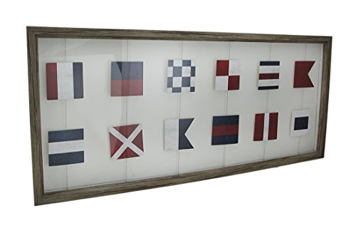 Wood & Glass Shadow Boxes Wood Framed Nautical Signal Flags Decorative Wall Hanging 27 X 12 X 1 Inches White