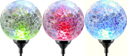 Moonrays 91251 LED Solar Path Lights In Glass Ball Design With Color Changing Feature, Weatherproof, 100,000 Hours...