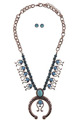 KARMAS CANVAS FAUX STONE SQUASH BLOSSOM BEADED NECKLACE SET (Antique Copper) (Necklace Squash Chain)
