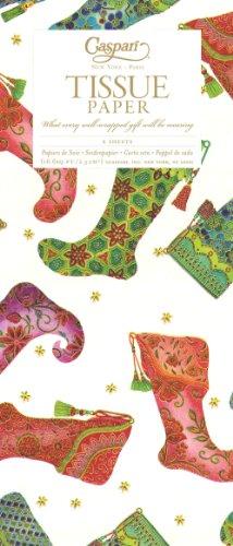 Entertaining with Caspari Tissue Paper, Jeweled Stockings Ivory, - Jeweled Stocking