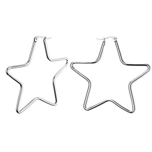 (Silver Star Titanium Stainless Steel Women's Hoop Earrings G3333)
