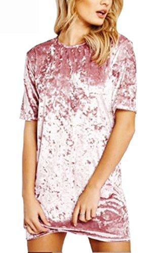 R.Vivimos Women's Summer Short Sleeve Crushed Velvet Mini Short Dresses (Small, LightPink)