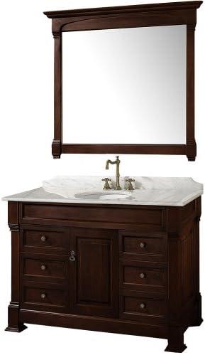 Wyndham Collection Andover 48 inch Single Bathroom Vanity in Dark Cherry, White Carrara Marble Countertop, Undermount Oval Sink, and 44 inch Mirror