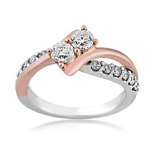 2BeLoved 2 ct. tw 2 Stone Round Diamond Anniversary Ring in 14K Two-Tone White and Pink Gold - RE7672A5014T@14WP