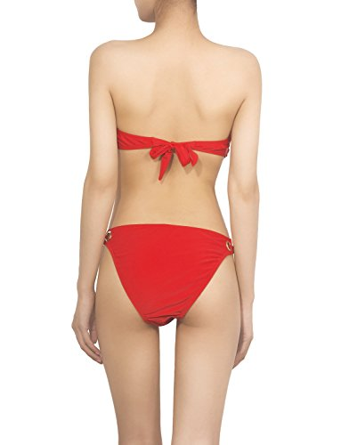 iB-iP Mujer Línea Dorada Bikini De poca altura Trajes de baño Rojo