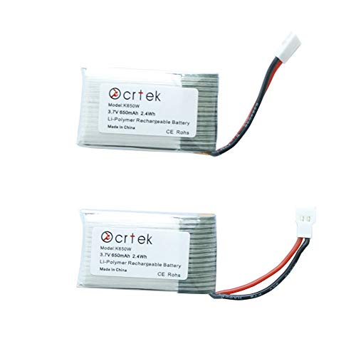 650 Mah Replacement - KCRTEK 650mAh Lipo, 2pcs 3.7V 650mah Battery with XH Plug for RC Quadcopter Holy Stone MJX X400 X400W X800 X300C Sky Viper S670 V950hd V950str HS200W and Other Quadcopter Drone