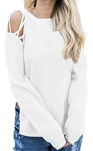 Shoulder Side amp;W M amp;S Slit Tops Pullover Sleeve Womens Long Sweater Cold White nCCgx0