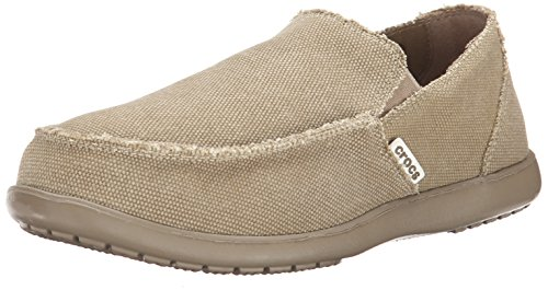 Crocs Men's Santa Cruz Loafer, Casual Comfort Slip On, Lightweight Beach or Travel Shoe, Khaki, 12 US Men -