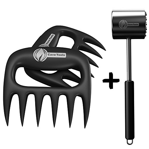 Meat Claws + Tenderizer Mallet Tool - DISHWASHER SAFE & - Manual Hammer Pounder For Tenderizing Chicken Steak Pork & Veal in Kitchen - Non Slip Silicone Handle for Pounding (Book On Tenderizing Meat)