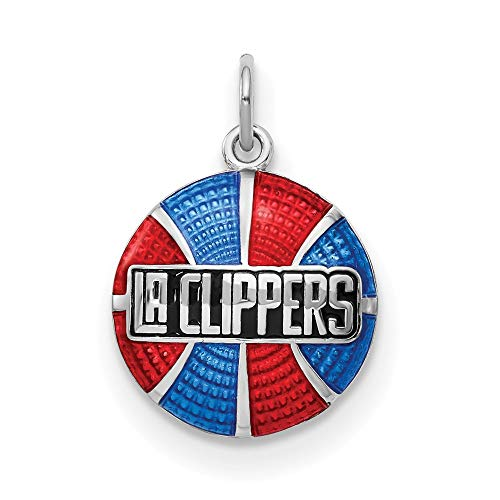 Sterling Silver Los Angeles Clippers Enameled Basketball Pendant