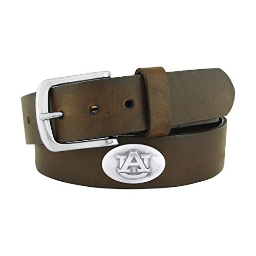 NCAA Auburn Tigers Brown Leather Concho Belt, 38 Auburn Tigers Leather Football