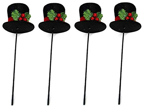 SET OF FOUR for ONE PRICE! Christmas Black Glittered Derby Top Hat Picks 15