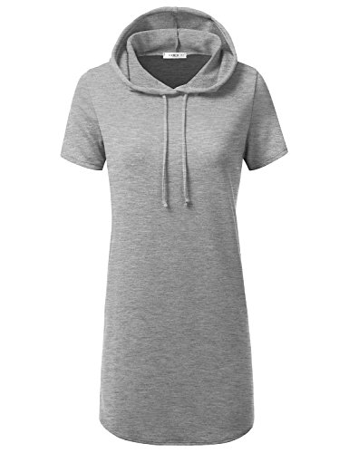(CLOVERY Women's Cross Neck Loose Fit Short Sleeve Casual Pullover Long Hoodies Hgrey 3XL Plus Size)