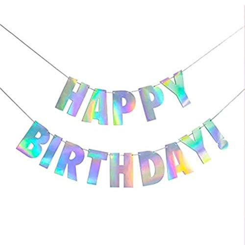 CC HOME Iridescent Party Supplies, Pink Gold Silver Shiny Happy Birthday Banner, Iridescent Silver Garland Bunting Sting Flag Decorations Set for Baby Shower,Birthday Party Decorations Supplies ()