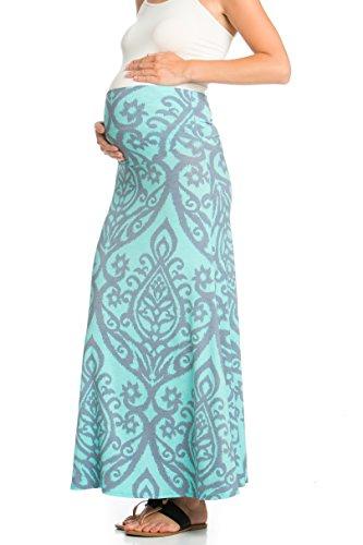 MY Bump Womens High Waisted Floor Length Maternity Maxi Skirt with Tummy Control(Made in USA)