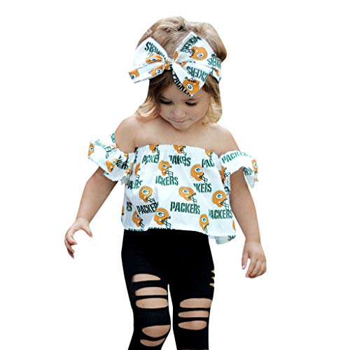 SMALLE◕‿◕Baby Girls Outfits,Set Beautiful Bow Hair Clip Off Shoulder Cartoon Letter Tops Fashion Hole Pants White]()