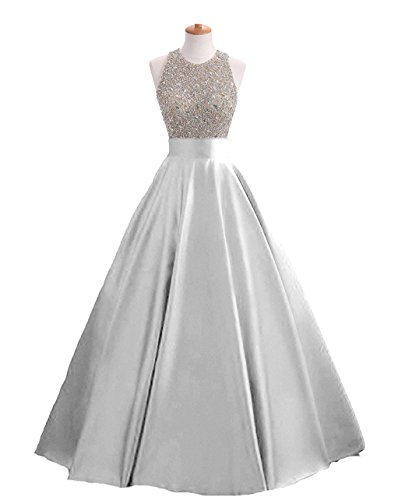 bf5014f45237 ... Women's Sequins Keyhole Back Evening Ball Gown Beaded Prom Formal  Dresses Long H095 18W Silver. ; 