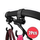 Tuscom  2 Pcs Stroller Hook,14x5cm Multi Purpose Hooks Hanger,for Diaper Bag Purse Clothing Accessory (Black)
