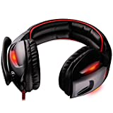 SADES SA902 Gaming Headset 7.1 Channel Virtual USB Surround Stereo Wired PC Gaming Headset Over Ear Gaming Headphones with Mic Revolution Volume Control Noise Canceling LED Light(Black&Red)