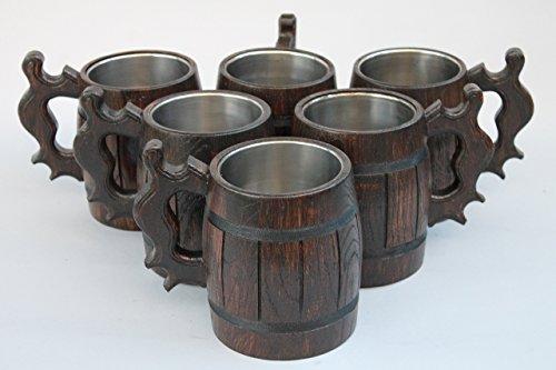 20% OFF Set of 6 Wooden Beer Mug Stainless Steel Eco Friendly Tankard Beer Mug for Men Handmade Gift Idea Brown 20oz