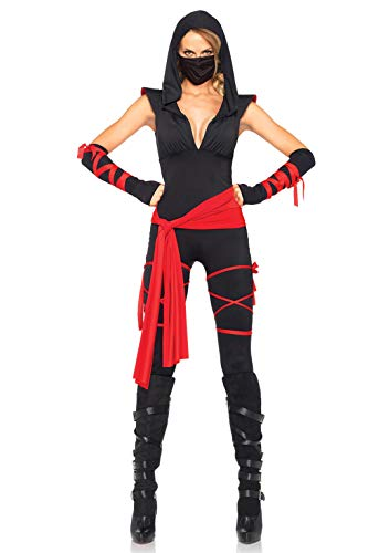 Leg Avenue Women's Deadly Ninja Costume, Black/Red, Medium